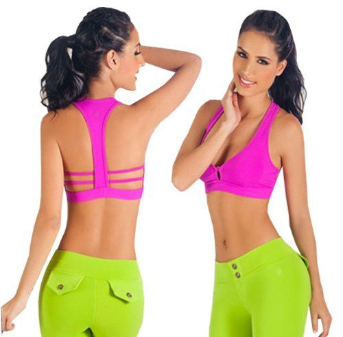T Back Sports Bra Hot Pink Small