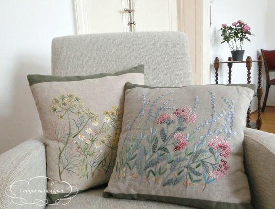 Старá каламáрка: Herb embroidery on linen