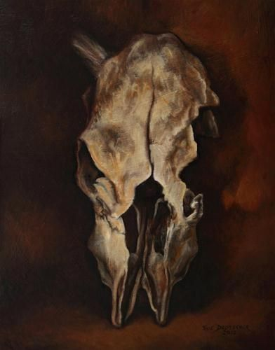 """""""Cow Skull"""" - Original Fine Art for Sale - © Sue Deutscher"""