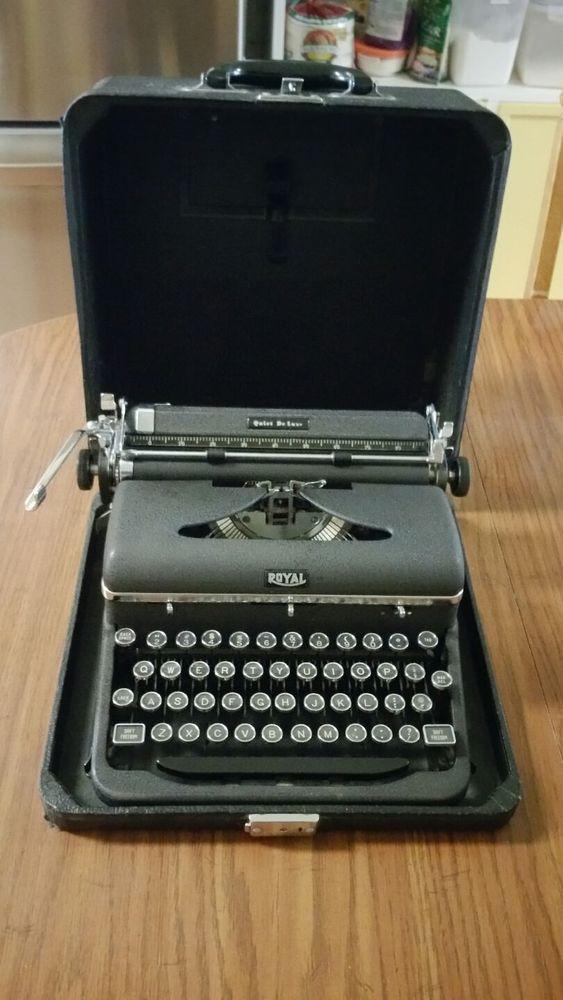 Vtg Working 1940s Royal Quiet De Luxe Black Hemingway Portable Typewriter Case Royal Vintage Typewriters Typewriter Vintage