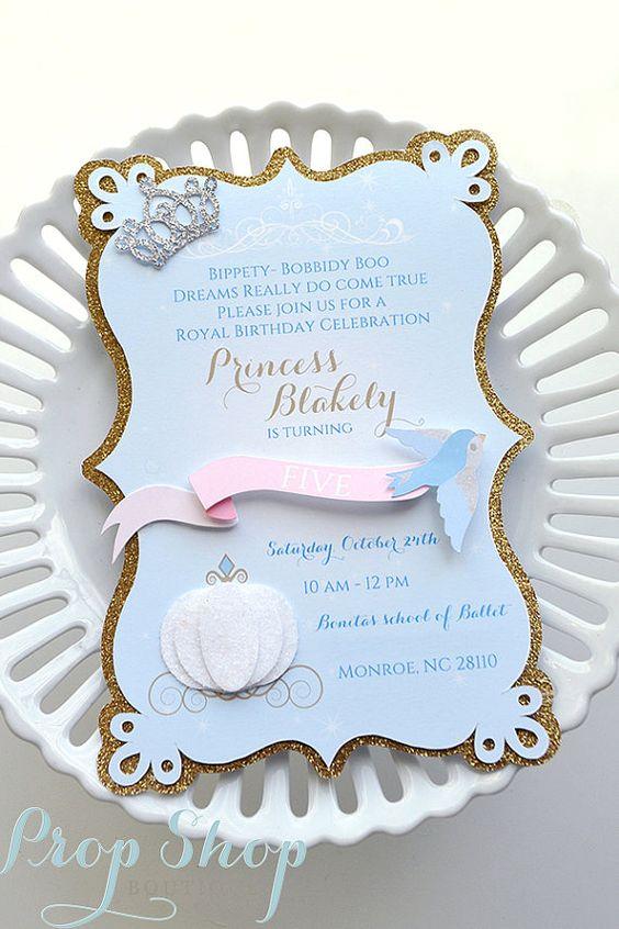 Girl's Cinderella Birthday Invitations