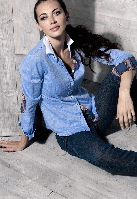 camicia 152N219N pantalone 090NF13C camicia giro inglese con contrasti - pantalone jeans classico;