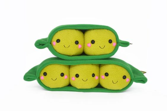 Peas in a pod kawaii plushie pillow cushion handmade in