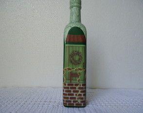 Garrafa Casinha Verde R$ 37,00 www.elo7.com.br/ateliepintaecola
