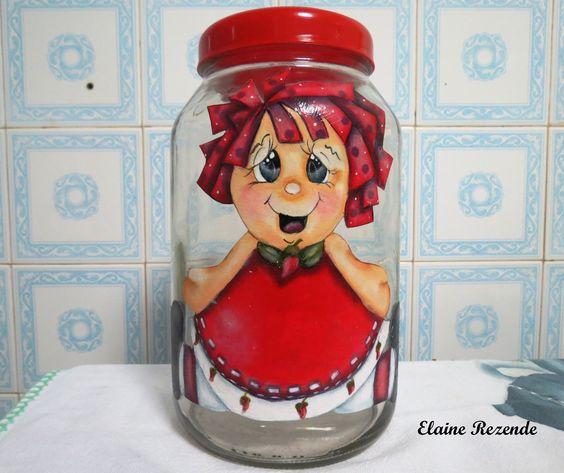 Pintura em tecido aplicada em vidro - menina pimenta