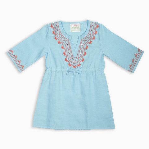 Turquoise Coral Embroidered Tunic/Cover Up