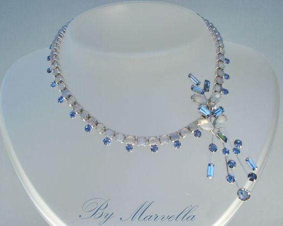 Vintage Avant-Garde  MARVELLA Choker Necklace Glass Moonstones Sapphire Blue Rhinestones Wired Motif