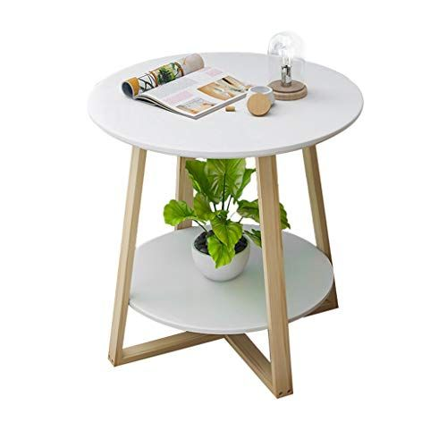 Home Warehouse Double Layer Small Round Table Creative Multifunction Living Room Telephone T Bedside Table Decor Solid Wood Side Table Solid Wood Coffee Table