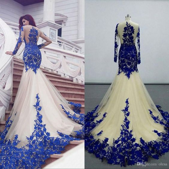 2016 Long Sleeve Mermaid Evening Dresses 2015 Tulle Appliques Lace Sweep Train Illusion Backless Formal Party Prom Gowns Arabic Dresses Online with $149.55/Piece on Olesa's Store | DHgate.com