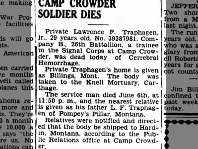 Traphagen dies at Camp Crowder 8 June 1942
