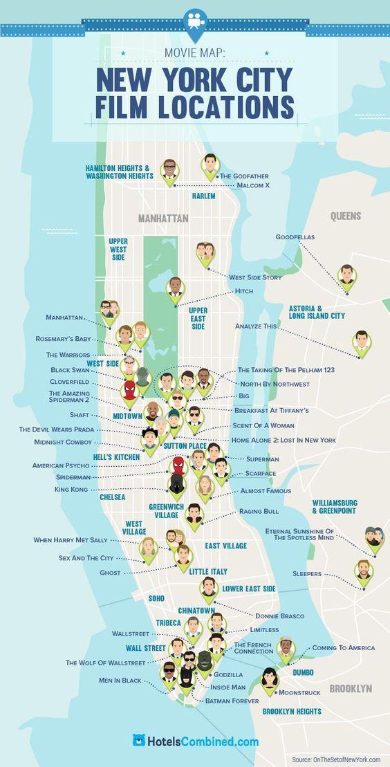 #Mapa con localizaciones de películas en #NuevaYork