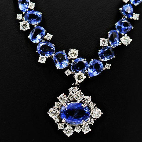 40.93 carat Blue Ceylon Sapphire and 6.35 carat by MYJewelryNYC