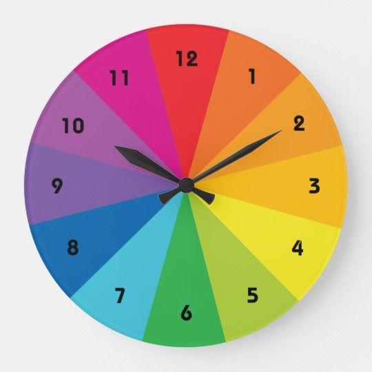 Color Wheel Clock Zazzle Com Wheel Clock Primary Color Wheel Color Wheel
