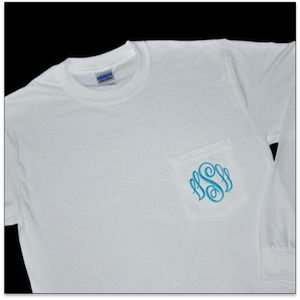 Monogrammed Long Sleeve Pocket Shirt.