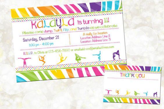 Gymnastics Digital Invitation  Gymnastics by NanasPartyPrintables