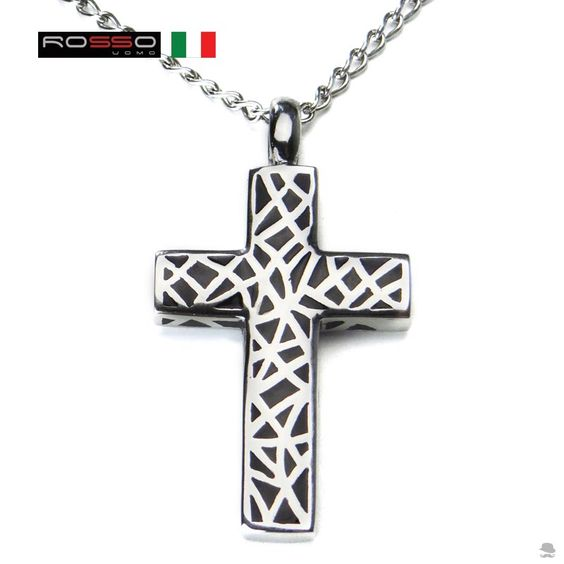 Crucifixo em aço 2 faces. Fabricação italiana.