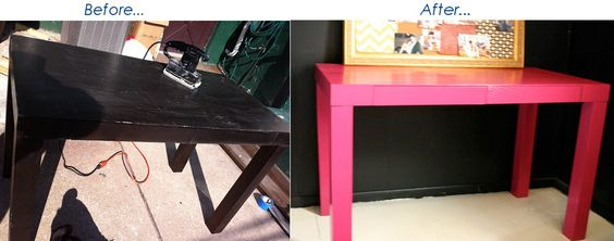 Desk painted Glidden's Very Berry in high gloss. - primed, and then did about three coats paint