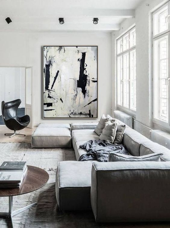 Leinwand selber bemalen weihnachtsgeschenke selber machen Wohnzimmer Gemälde gemütlich schwarz weiß