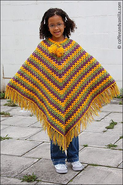 Another Classic Crochet Poncho Pattern - Junior Size | Patrones ...