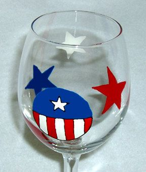 Patriotic Wine Glass Hand Painted by ConniesCreations2010 on Etsy, $10.00