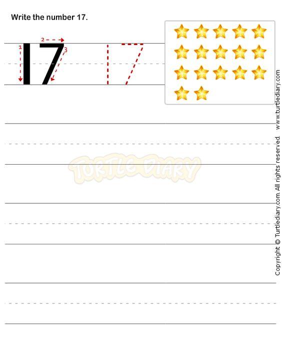 Number Writing Worksheet 17 - math Worksheets - preschool ...