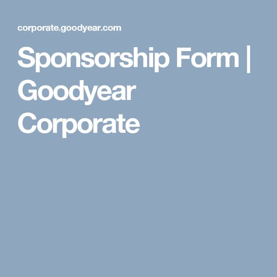 Sponsorship Form  Goodyear Corporate  Racing