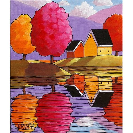 Bright trees and cottages, purple mountains and summer sky, you can own this one of a kind painting, featuring vibrant colors and an abstract folk art style that is unique to this original artwork piece. ____________________________________________________________  TITLE: Purple Mountains Colorful Trees & Cottages  SIZE: 10 x 12  MEDIUM: Acrylic paint on stretched canvas  STYLE: Abstract Folk Impressionism  SUBJECT: Landscape  DETAILS: Painting has staple-free sides, the sides have been…