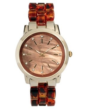 ASOS Tortoiseshell Watch with Brown Dial