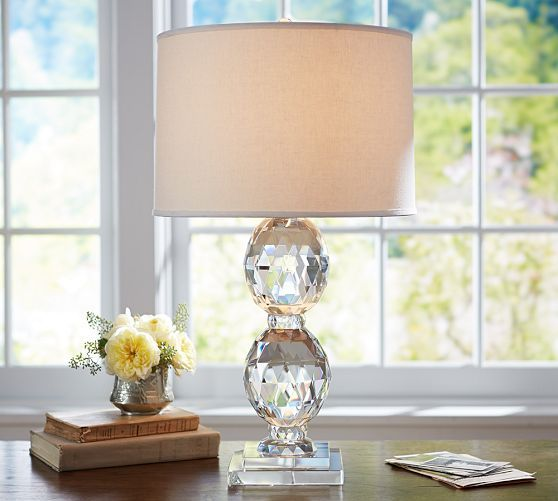 "Carlotta Faceted Crystal Bedside Lamp Base | Pottery Barn - 24""h ; shade sold separately"
