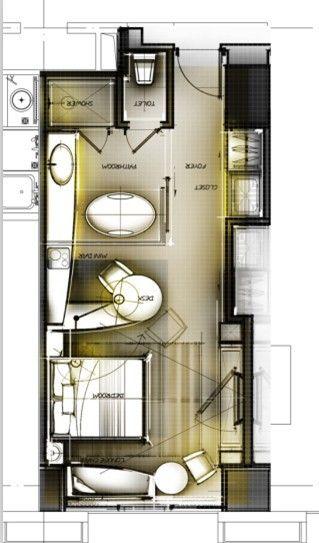 Funcional, Design De Quarto De Hotel, Hotel De Design De Interiores, Hotéis  Planos, Idéias Planas, Casa Estreita, Hotel Room Floor Plan, Hotel Room  Layout, ... Part 81