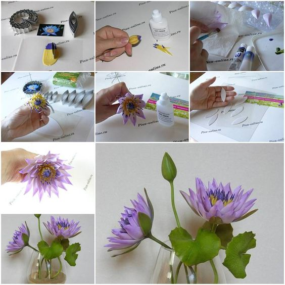 Clay Flowers Tutorials: How To Make Polymer Clay Lotus Flowers Step By Step DIY