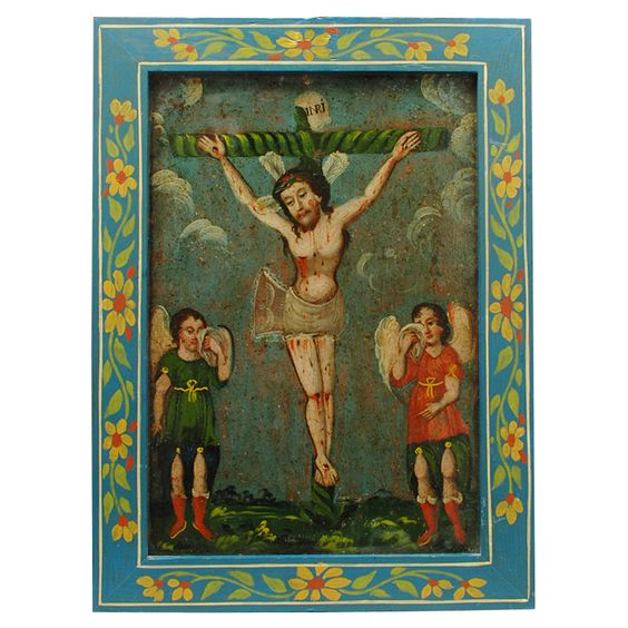 19th Century Mexican Tin Retablo Painting - Misericordia  Mexico  Circa 1870  El Senor de la Misericordia de Tepatitlan, flanked by two weeping angels, is depicted in this extremely rare 19th century Mexican folk retablo on tin