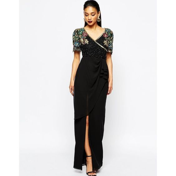 Virgos Lounge Ariann Embellished Maxi Dress With Frill Wrap Skirt ($171) via Polyvore featuring dresses, white sequin dress, sequin dress, v neck dress, wrap maxi skirt and white embellished dress