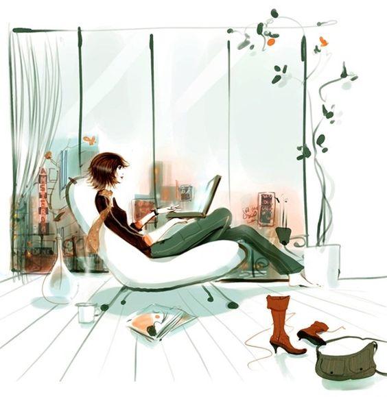 Girl Illustration #relax / Illustrazione Ragazza #rilassarsi - Art by Sophie Griotto