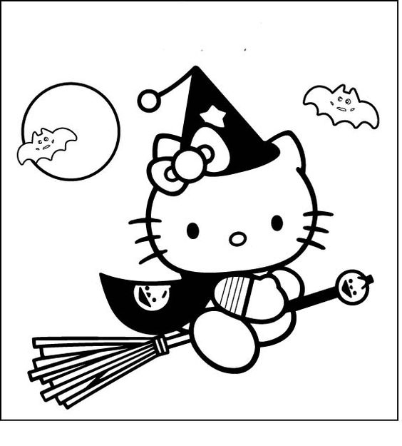 Hello Kitty Riding A Broom Coloring Page