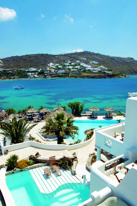 Panoramic view of Kivotos Luxury Hotel in Mykonos...More than just a Boutique Hotel in Mykonos Greece, the Kivotos Hotel, was not destined originally to become one of the best hotels in Mykonos, for it was meant to be a family villa. What is now considered amongst the foremost Boutique Hotels in Mykonos Greece...