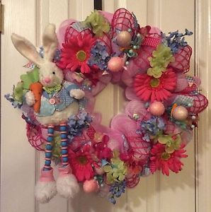 22-EASTER-SPRING-BUNNY-FLORAL-DECO-MESH-WREATH
