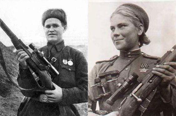 (좌)전설적인 소련의 저격수 자이체프와 그가 사용한 모신나강 소총<br> (우)54명을 저격한 로자 샤니아(Roza_Shanina)와 그녀의 모신나강 소총