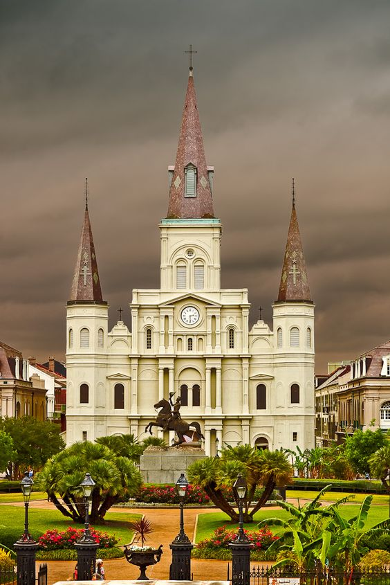 The Saint Louis Cathedral is the oldest Cathedral in North America, founded as a Catholic Parish in 1720 along the Banks of the Mississippi River in New Orleans.