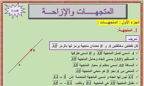 درس المتجهات والإزاحة للثالثة إعدادي Math Chart Abs