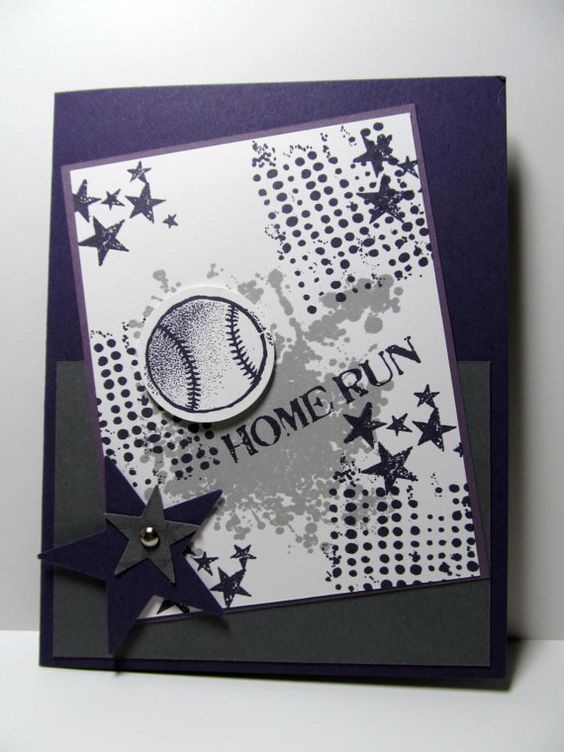 Baseball Hand Stamped Greeting Card Perfect By