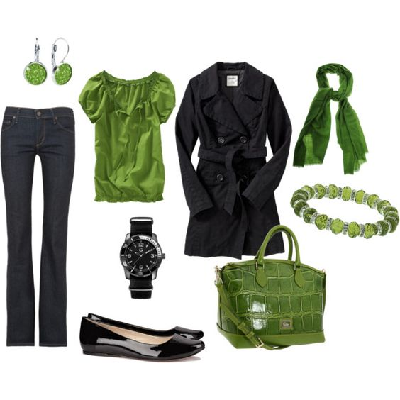 Green. Love.: Outfit Idea, Navy Outfit, Dream Closet, Fav Color, Favorite Color, Green Black, Green Outfit, Shades Of Green