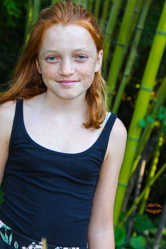 Ginger Hair, Pre-teen young girl, with lots of freckels