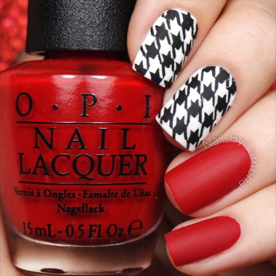 Here's the tutorial (finally) for my houndstooth nails!❤️ Wildest Dreams-Taylor Swift I used: @opi_products Big Apple Red, Alpine Snow, and Matte Top Coat @twinkled_t Striping vinyls and #00 detail brush and #6 cleanup brush | 10% off with my code ❤️CAMBRIA❤️ Black acrylic paint @sechenails Seche Vite All polishes are from @hbbeautybar | 15% off with my code ✨nailsbycambria✨