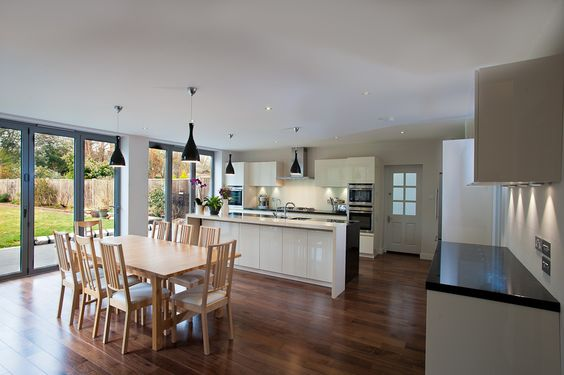 Fantastic open plan kitchen/dining extension with bi-folding doors. CLICK http://www.hollandgreen.co.uk/house_extensions#.U_L5ovldU7k to find out how you could have your own dream extension.