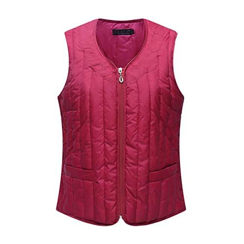 Womens Down Gilet Vest Body Warmer Ultra Light Weight Stand Collar Zipper Jacket with Pockets