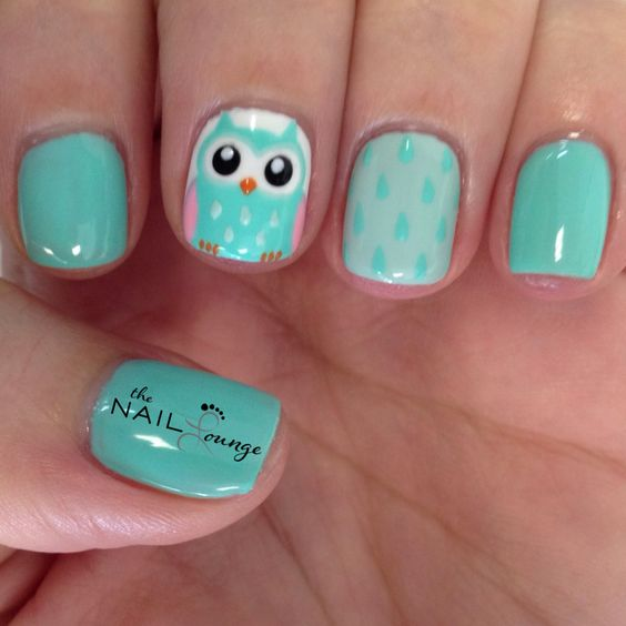 Cute Owl cartoon nail art design @the_nail_lounge_miramar