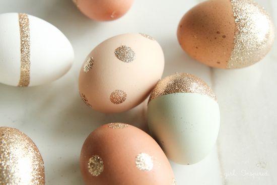 DIY gold glitter easter eggs
