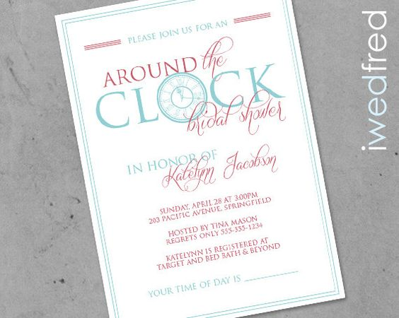 Bridal shower clock and bridal on pinterest for Around the clock bridal shower decoration ideas