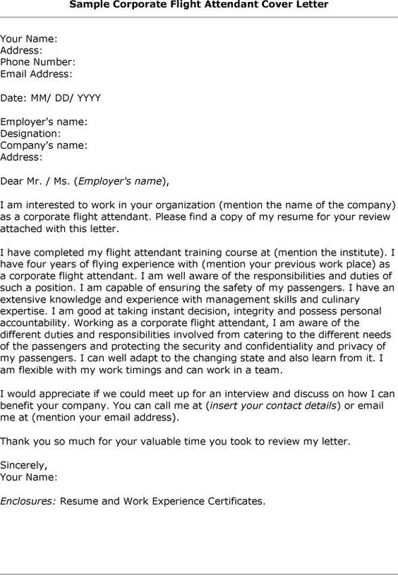Cover letter how to type correct flight attendant cover for Sample of cover letter for flight attendant position
